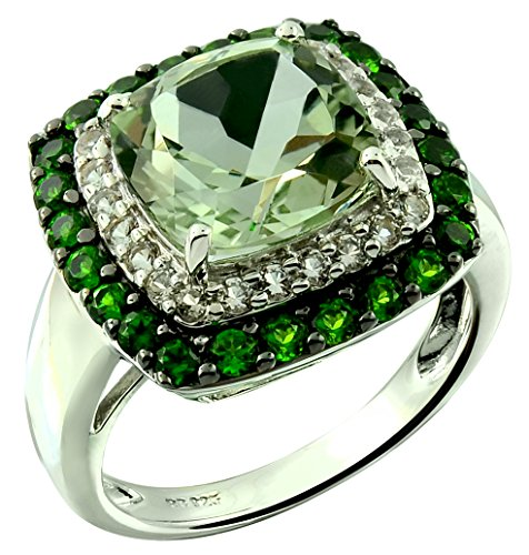 RB Gems Sterling Silver 925 Statement Ring Genuine Gemstone Cushion 10 mm with Rhodium-Plated Finish (9, prasiolite-Quartz)