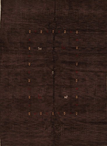 Rug Source One-of-A-Kind New Gabbeh Modern Tribal Hand-Knotted 8x11 Brown Wool Oriental Area Rug (11' 2
