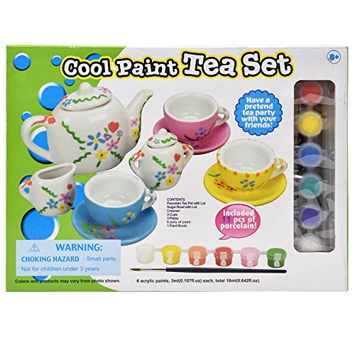 Kitchen Ceramic Craft - Number 1 in Gadgets Paint Your Own Tea Set, Decorate Your Own 11 Piece Set of Porcelain Dishes, Includes Six Paint Pots and Paint Brush