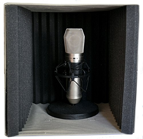 Vocal Booth by VBX - Acoustic Foam Portable Recording Studio - Microphone Sound Isolation Reflection Filter - for Podcast - USB Microphones - Desktop Recording - Vocal Sound (Portable Recording Studios)