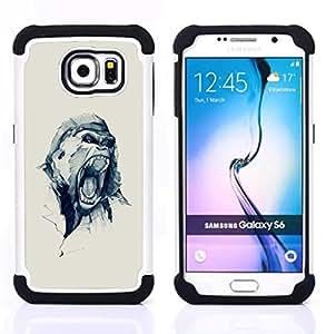 """Samsung Galaxy S6 / SM-G920 - 3 en 1 impreso colorido de Altas Prestaciones PC Funda chaqueta Negro cubierta gel silicona suave (Oh broche amor del corazón del lunar"""")"""