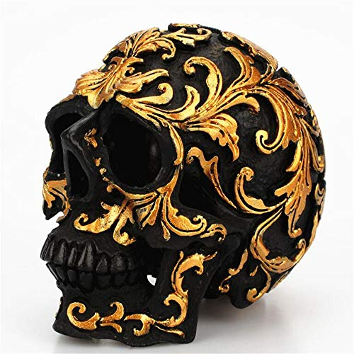 AAA&LIU Small Size Creative Rose Gold Floral Pattern Skull Ornaments Halloween Party Home Decorations Art Statue]()