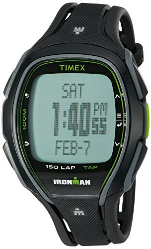 Timex Unisex TW5K96400 Ironman Sleek 150 Tapscreen Black/Green Full-Size Resin Strap Watch