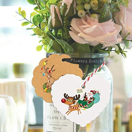 HAKACC Kraftpapier Anhänger, 300 Stk. Geschenkanhänger Etiketten Kraftpapier Tags Karten mit Schnur für Hochzeit Geschenk