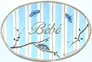 The Kids Room by Stupell Bebe, Baby with Butterflies and Blue Stripes Oval Wall Plaque