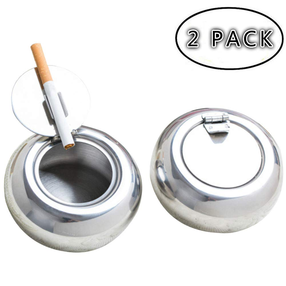 REZIPO Set of 2 Windproof Ashtray,2 PCS Stainless Steel Modern Tabletop Ashtray with Lid, Cigarette Ashtray for Indoor or Outdoor Use, Ash Holder for Smokers, Easy Clean for Home/Office 2 PCS, Silver