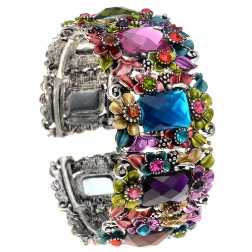 PammyJ Multi Colored Flower Hinged Bangle Bracelet Multi Colored Rhinestone Bracelet