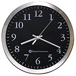 Modern 12 Stainless Silent Wall Clock with Non Ticking Quiet and Accurate Movement - Bjerg Instruments