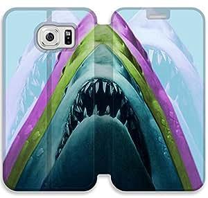 caso del tirón del cuero mandíbulas W2W23C4 Samsung Galaxy S6 funda B6U16D0 de HD Caja funda del teléfono de DIY