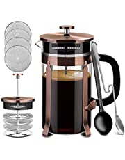 French Press, Premium 8 Cup 34-Ounce No Coffee Grounds with 4 Level Filtration System & 2 Spoons for Measuring and Mixing Stainless Steel Heat-Resistant Borosilicate Glass