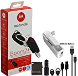 Motorola Boom 2'HD Flip Bluetooth - Noise Canceling - Wireless Headset W/Car/Wall Charger Extra Micro USB Cable (US Retail Packing)