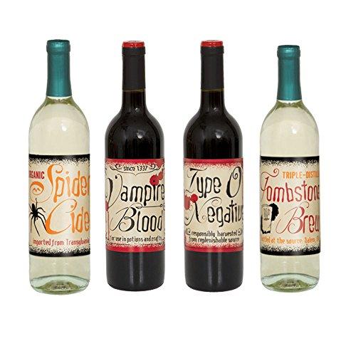 Vintage Halloween Wine Bottle Labels, Assorted (Halloween Type O Negative)