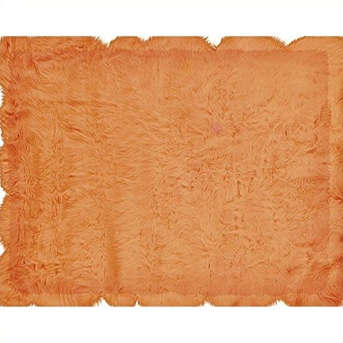 Linon Rugs Faux Sheepskin Orange Rug 5' x 7' (Rug Orange Sheepskin)