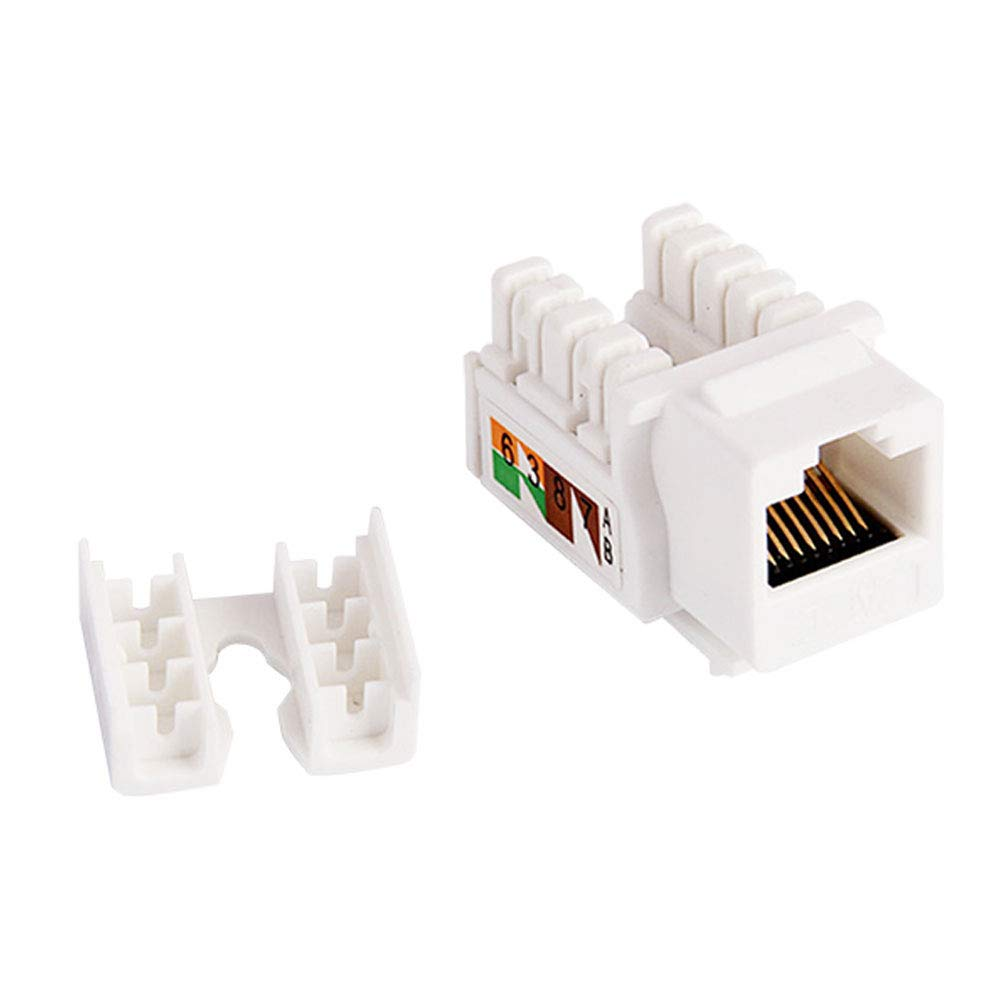 VBOR Cat6 Keystone Jack Unshield Female Jack Connector 5 Pieces Pack for Cat6 and Cat5e Ethernet Cable and Wall Plate