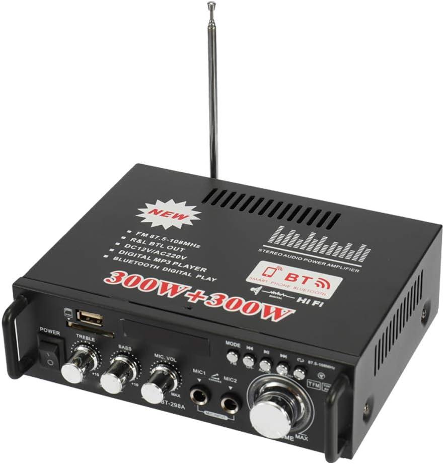 Docooler 12V/220V Mini Pantalla LCD de 2CH HiFi Audio Estéreo Amplificador de Potencia BT FM Radio Portátil Auto Home 600W, Mando a Distancia Audio Amplificador