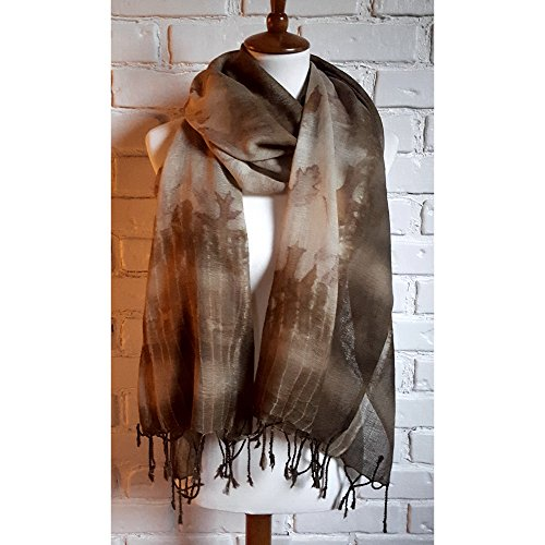 Eco Printed and Naturally Dyed Wool Oversized Scarf by Cedar Dell Forest Farm