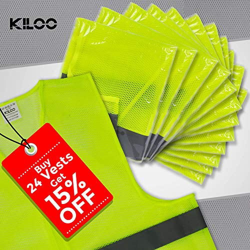 Reflective Safety Vests - Pack of 12 | High Visibility Neon Yellow Mesh | Fits Men and Women | For Construction and Surveyor Work, Security, Emergency, Event Volunteers, Traffic and Parking Workers by Kiloo (Image #8)