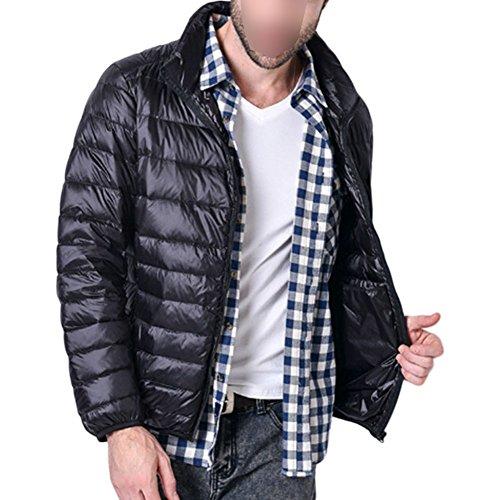 Basamento Outwear Deylaying Sport Inverno Parka Uomini Antivento Piuma Leggero Nero Del Spessa Giacca D'oca In Collare gxfrITPx