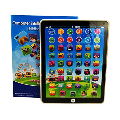 Keklle Kids Children Mini Imitative iPad Toy Intelligent Early Educational Learning Playing Tablet Toys Christmas Birthday Gift for Girls Boys Baby Letter Number Alphabet Learning Machine (White)