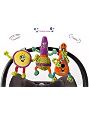 Lil' Jammerz Baby Music Toys for Car Seat or Stroller: Includes a Bluetooth Speaker to Stream Music or White Noise, and Plush Rattle & Squeaky Toy
