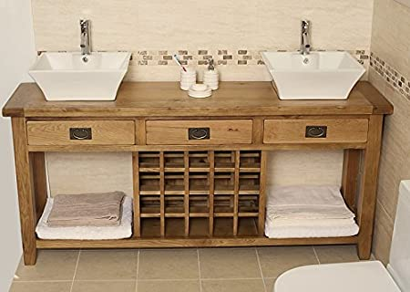 Magnificent Free Standing Large Solid Oak Double Vanity Unit With Choice Complete Home Design Collection Papxelindsey Bellcom