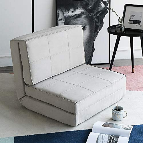 Aclumsy Futon Furniture Sleeper Sofa Folding Memory Foam Bed Floor Couch Guest Chaise Lounge Convertible Upholstered Chair Gray