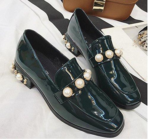 Los nuevos zapatos de la mujer de la vendimia de la perla zapatos principales cuadrados con áspera con una pequeña perla zapatos de cuero Green