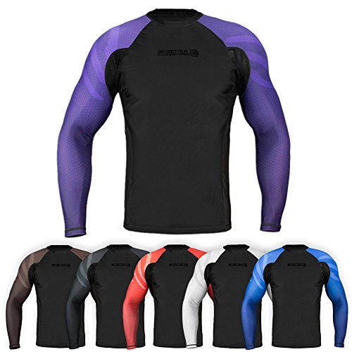 Sanabul Essentials Long Sleeve Compression Training Rash Guard for MMA BJJ Wrestling (X-Large, Purple)