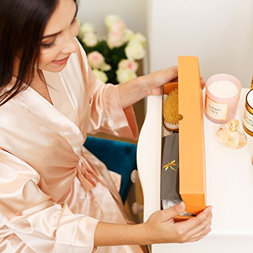 Premium Dry Brushing Body Brush Set- Natural Boar Bristle Body Brush, Exfoliating Face Brush & One Pair Bath & Shower Gloves. Free Bag & How To – Great Gift For A Glowing Skin & Healthy Body by Belula (Image #1)