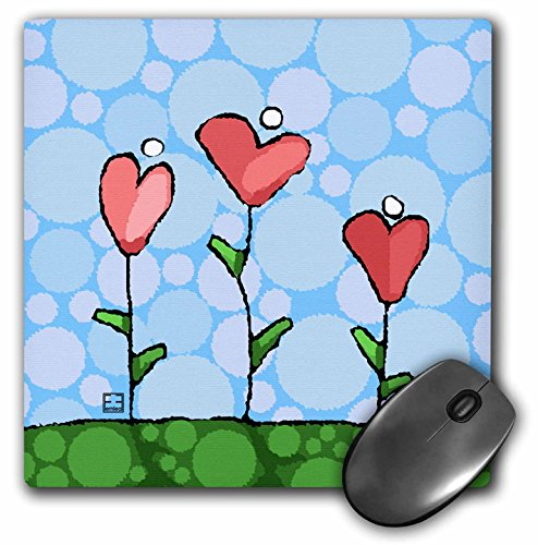 3dRose LLC 8 x 8 x 0.25 Inches Mouse Pad, Valentine Folk Art, Whimsical Heart Flowers Blue Background (mp_37498_1)