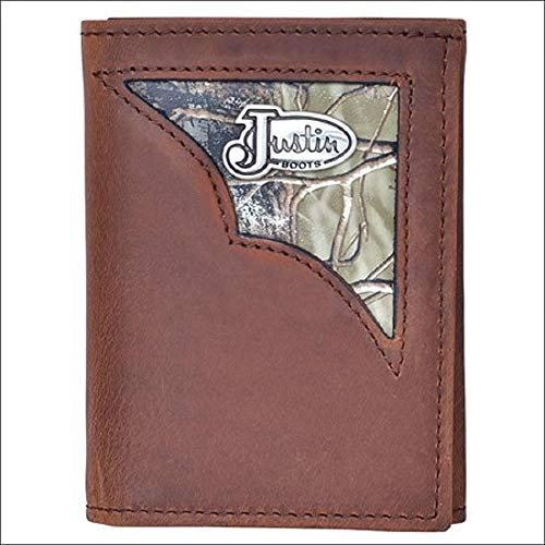 Tri Fold Belt - 3D Justin Men's Tri-Fold Camo Inlay Justin Emblem Concho Distressed Brown Leather Wallet