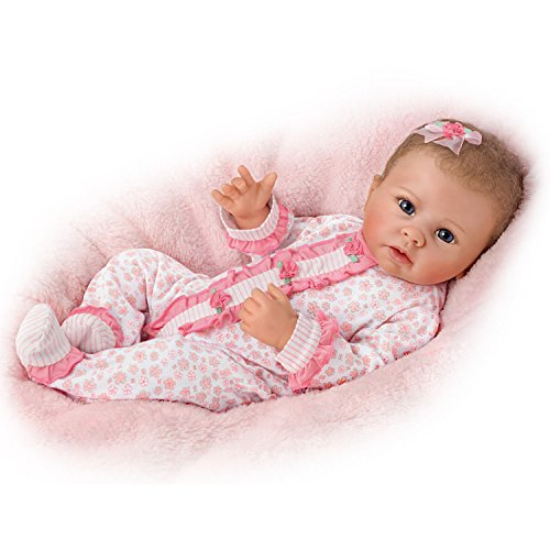 The Ashton - Drake Galleries Katie Breathes, Coos and has a Heartbeat - So Truly Real Lifelike, Interactive & Realistic Weighted Newborn Baby Doll 19-inches