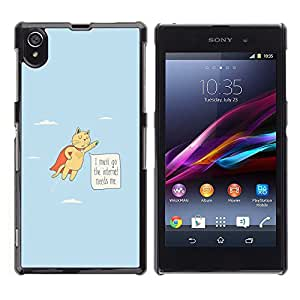 Stuss Case / Funda Carcasa protectora - Cat Funny Flying Quote Internet Addiction Hero - Sony Xperia Z1 L39 C6902 C6903 C6906 C6916 C6943