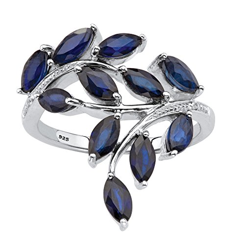 Platinum over Sterling Silver Marquise Cut Genuine Blue Sapphire and Diamond Accent Ring Size ()