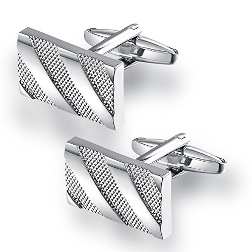 Areke Stainless Steel Mens 18K Platinum Plated Cuff Links,French Tuxedo Shirt Cufflinks Wedding Business Color Silver