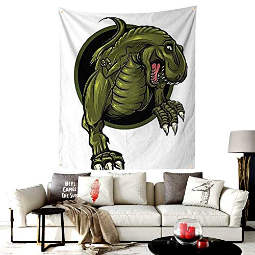 (LOUTAN-Home Custom Mode Jungle Tapestry Wall Hanging,Roaring T-Rex Mascot Ancient Animal Horror Wildlife Wilderness Extinct,Wall Hanging for Bedroom,40W X 50L Inches Olive Green Brown)