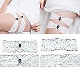 vintage garter - YunKo 1 Pair Ivory Lace Vintage White Prom Wedding Bridal Garter Belt Set
