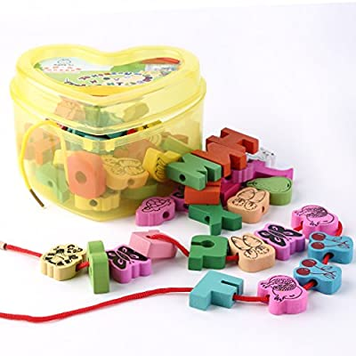 FVE Wooden Lacing Beads Animals Blocks Heart-Shape Box Threading Educational Toy: Office Products