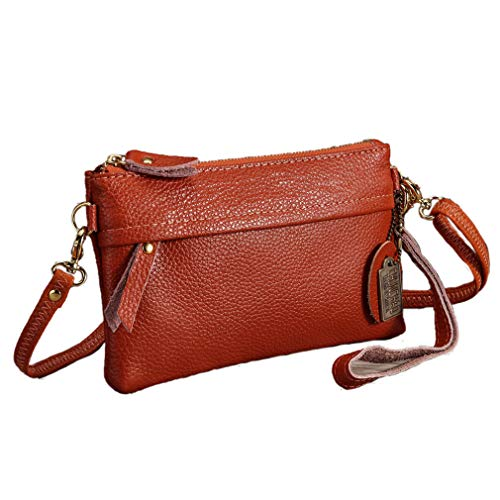 (Womens Natural Leather Bag Coin Purse Crossbody Bag)
