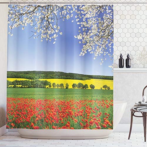 - Ambesonne Flower Decor Shower Curtain Set, Poppy Field with A Spring Landscape and Blossom Tree View in Meadow Nature Image Home Decor, Bathroom Accessories, 75 Inches Long, Red Blue