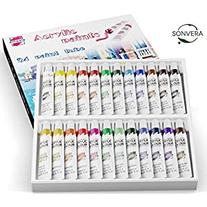 Ampela Acrylic Paint Set 24 Colors 12 ml Tubes of Acrylic Non Toxic Paints Sets Kits of Acrylic Art Craft Paint Palette for Painting for Kids Adults Beginners Artists