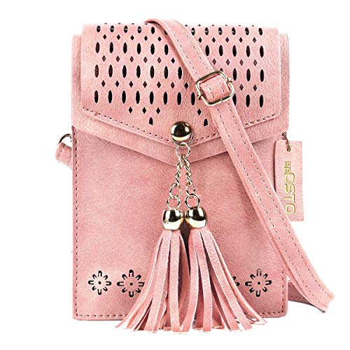Small Cross Body Bag, SeOSTO Mini Cellphone Wallet Travel Purse with Tassel Shoulder Bag Message Bag for iPhone Samsung Smartphone Under 7.1 Inch Pink