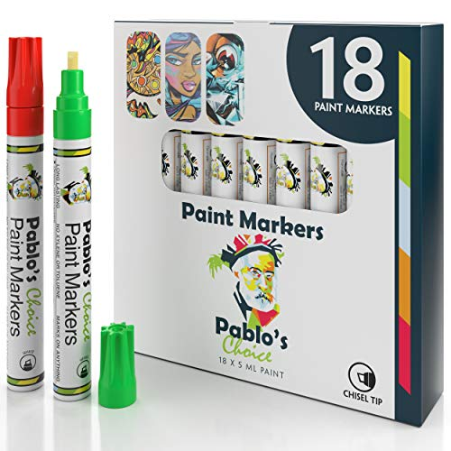 Paint Markers with Chisel Tip Fine Control - Imported from Japan, Precision Paint Pen for Rock Painting - Glass & Mug Permament Oil Based 18-Pack Multi Color