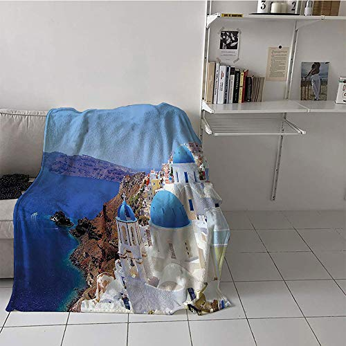 Khaki home Children's Blanket Party Lightweight All-Season Blanket (60 by 80 Inch,European City Decor Collection,Santorini Greece Scenery View Picture White Stone Old Houses,Blue White
