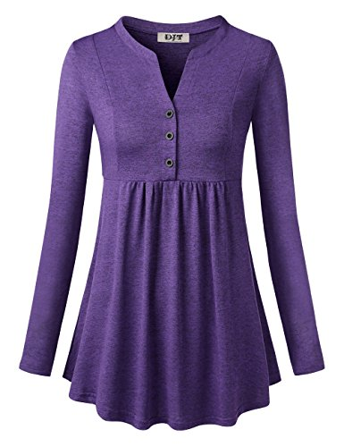 Solid L/s Tee - Ladies Flowy V Neckline Tee Shirt, Summer Leisure US Style Solid Color Top Knit A Line Carved Hem Long Sleeve Tunic Tops Purple L
