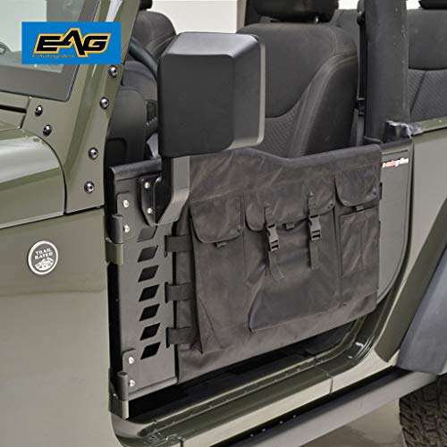 EAG Pocket Tubular 2 Door with Cargo Cover and Side View Mirror Fit for 07-18 Jeep Wrangler JK 2 Door Only
