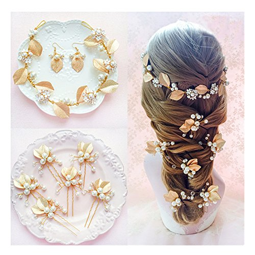 Alinay Wedding Bridal Flower Crystal Pearl Gold Pearl Set for Girls Bridal and - Set Pin Pearl