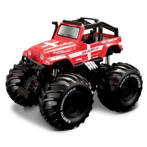 Maisto Fresh Metal Earth Shockers Search And Rescue Monster Truck Jeep (Red) - Red Monster Truck