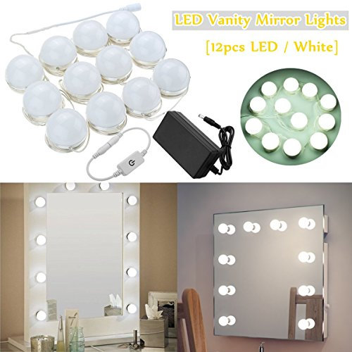 Aissimio Hollywood Style LED Vanity Mirror Lights Kit with 12 Dimmable Light Bulbs Lighting Fixture Strip For Makeup Dressing Vanity Table(Mirror Not Included) White by Aissimio