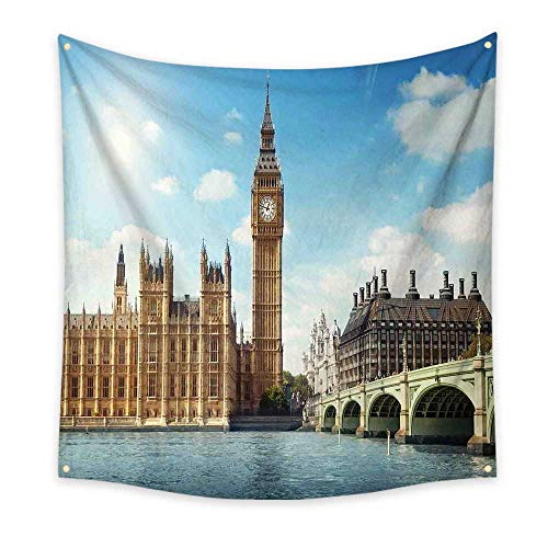 (London Funny Tapestry Scenery of Big Ben Westminister Brigde Thames River and Houses of Parliament Quote Tapestry Blue and Ivory 47W x 47L Inch)